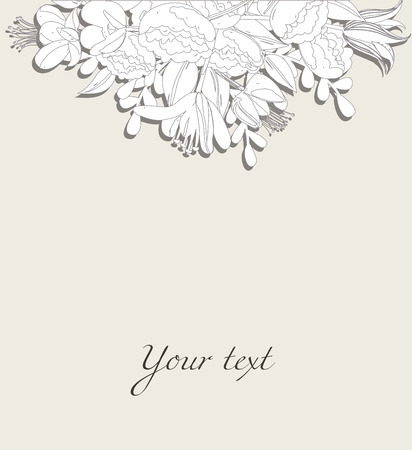 postcard template: Floral postcard template with bouquets and lettering Illustration
