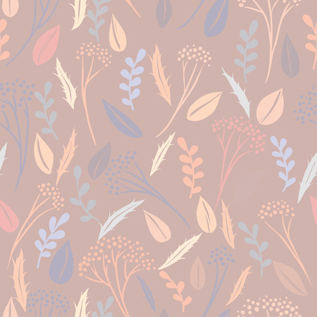 Abstract botanical seamless background, plants and leaves