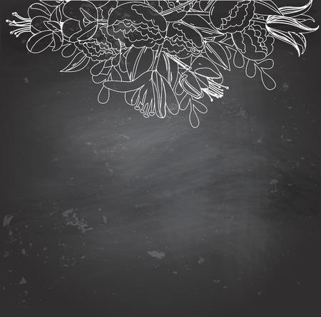 Leeg bord met wit krijt bloemen tekening