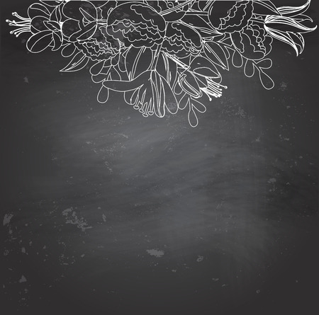 Empty blackboard with white chalk floral drawing