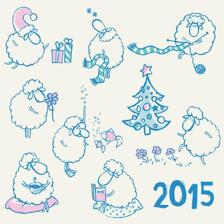 sheeps: Set of comic cartoon sheeps as a symbol of year Illustration