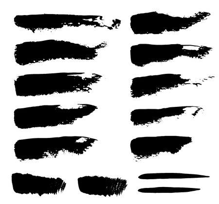 doodle: Set of grunge vector textured brush strokes