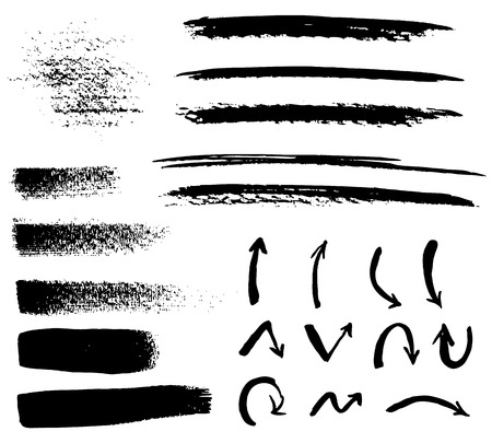 Set of grunge vector textured brush strokes and arrows