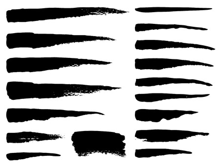 Set of grunge vector textured brush strokes