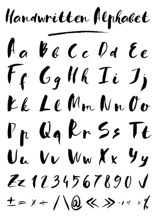 writing a letter: Set of hand drawn vector letters in black color Illustration