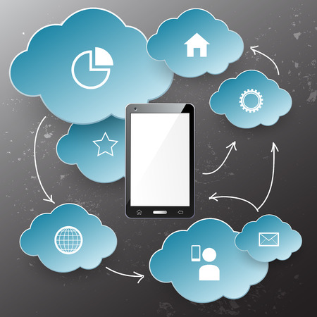 electronic device: Electronic device and cloud technology on grey background