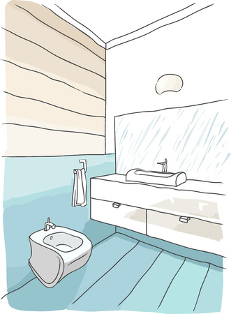 modern interieur: Color drawing of bathroom interior, modern style
