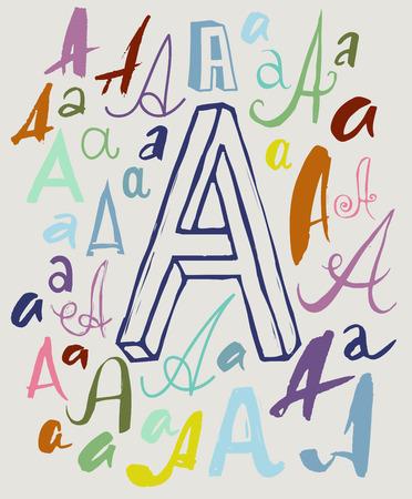 comunicación escrita: Dibujo vectorial de manuscrita letra A en variaciones de estilo y color