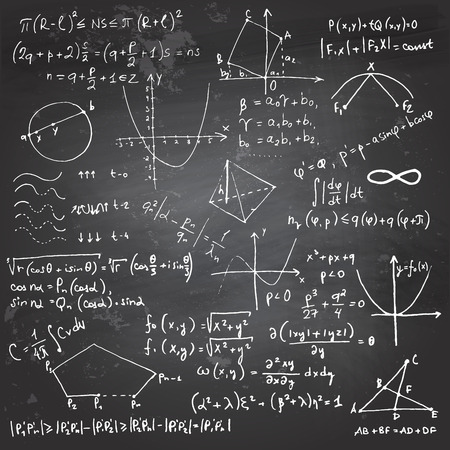 Doodle writing and drawing of math formulas with a chalk on a blackboard Stock Illustratie