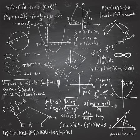 matemáticas: La escritura y el dibujo Doodle de fórmulas matemáticas con una tiza en una pizarra