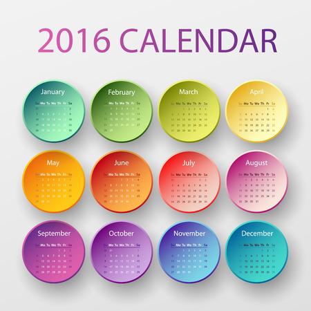 kalendarz: Simple 2016 year circle calendar in bright colors