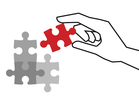 final piece of puzzle: Hand holding red piece of puzzle over grey unfinished pieces Illustration
