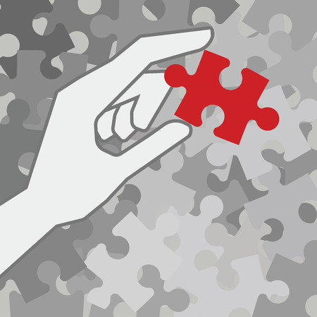 systems thinking: Hand holding red piece of puzzle over grey unfinished pieces Illustration