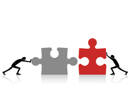 work together: Concept of teamwork - connecting together grey and red pieces of puzzle Illustration