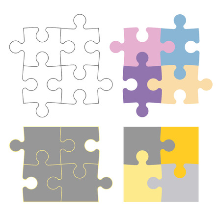 configurations: Puzzle pieces in different configurations, color and outline