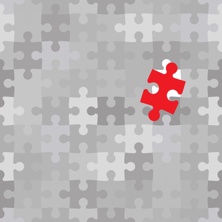 red puzzle piece: Red puzzle piece different from another grey ones