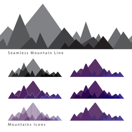 Set of simple flat icons of mountains in different styles Illustration