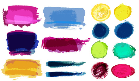 transparencies: Set of grunge vector textured watercolor brush strokes with transparencies Illustration