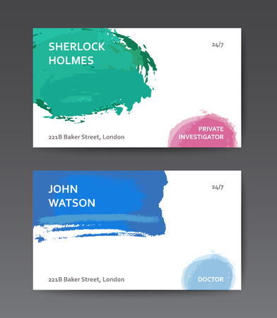 transparencies: Abstract colourful business card templates with watercolor brushes and transparencies Illustration