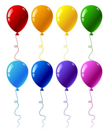 globo: Patr�n sin fisuras con globos de fiesta de colores aislados en blanco