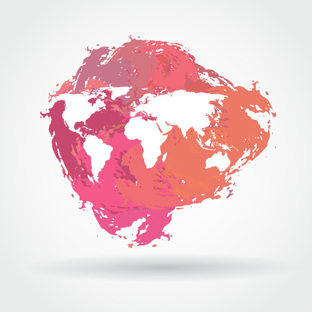 map: Vector watercolor brush stain icon with white world map Illustration