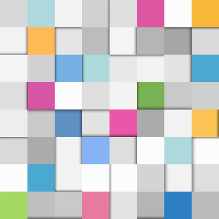 Abstract seamless flat paper squares background in grey, pink and blue