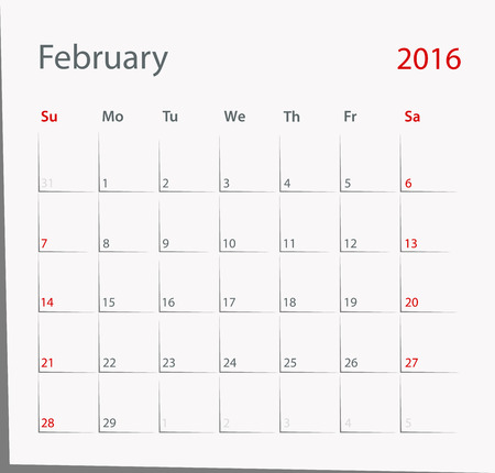 February 2016 year calendar in black and red