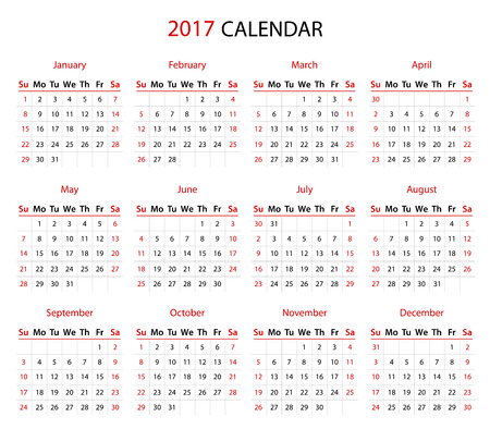 past: Simple 2017 year calendar in black and red
