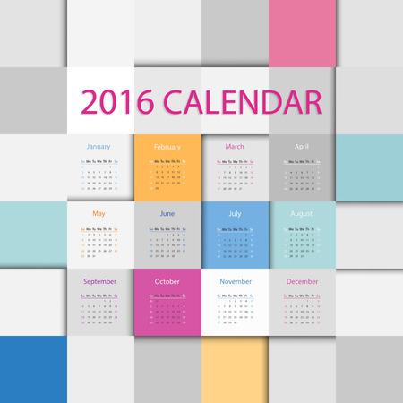 calendrier: Simple 2016 années calendrier carré plat dans des couleurs vives Illustration