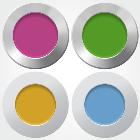 centers: For buttons with colorful centers in flat and metallic styles Illustration