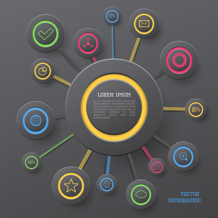 display problem: Modern vector circle infographic elements in bright colors