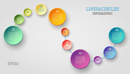blue circles: Modern vector circle and line infographic elements in bright colors