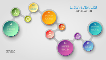 Modern vector circle and line infographic elements in bright colors