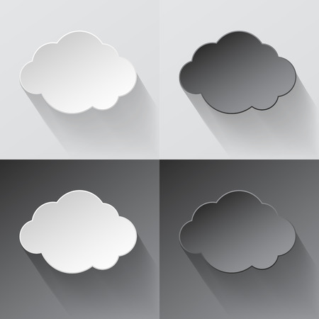 sky clouds: White and black paper cut clouds with shadows