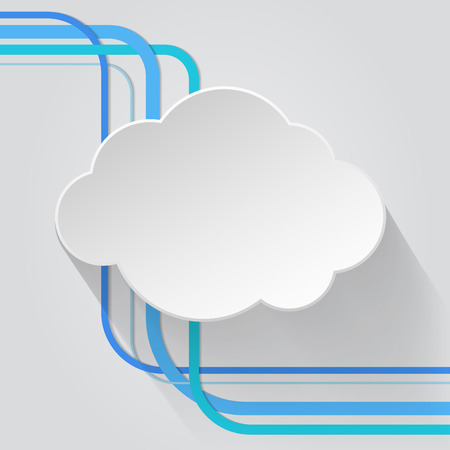 White cloud icon with blue wire on background