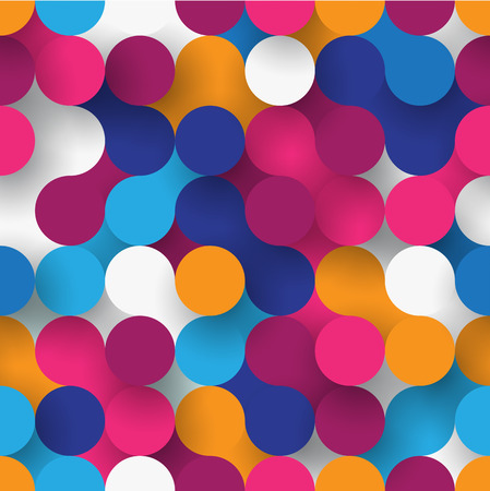 Abstract flat seamless background with colorful paper circles