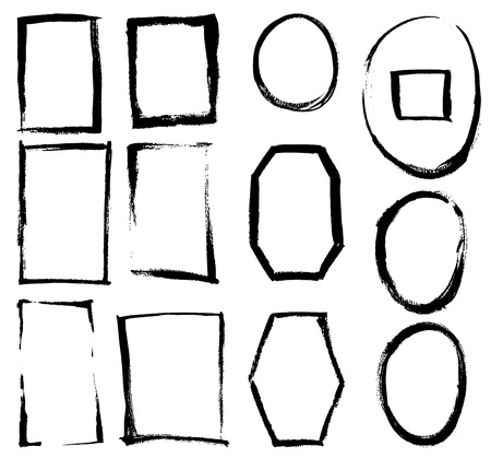 doodle art: Set of grunge vector textured brush frames
