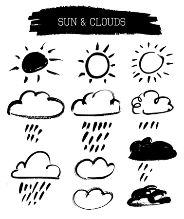 cloud: Set of grunge vector brushed hipster sun and clouds Illustration
