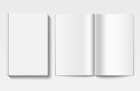 White empty book cover and pages, front view Illustration