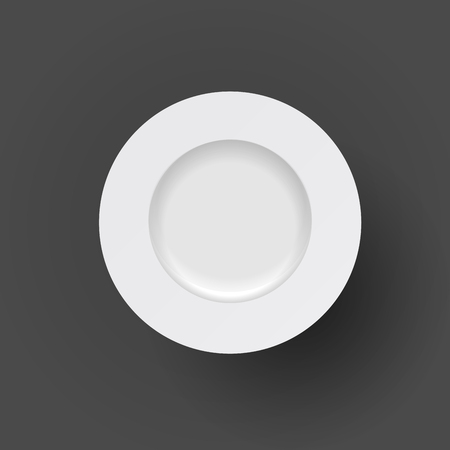 restaraunt: Vector white plate icon on black background Illustration