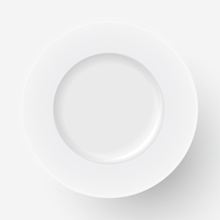 restaraunt: Vector white plate icon on white background