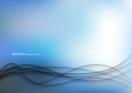 Abstract papercut waves background template in blue Vectores