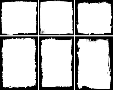 grunge brush: Set of square and rectangular textured frames