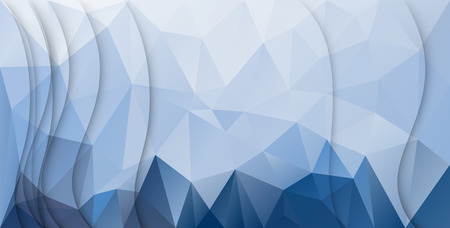 Abstract papercut waves background over blue triangles 向量圖像