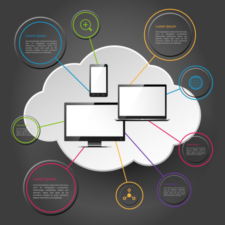 electronical: Modern electronical devices and cloud computing concept Illustration