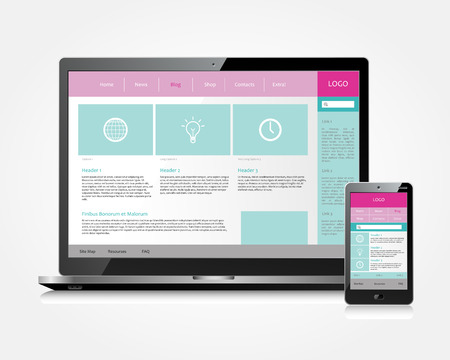 electronical: Vector web design template on electronical devices - computer and smartphone Illustration