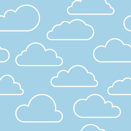 contour: Vector contour cloud seamless pattern in blue and white Illustration