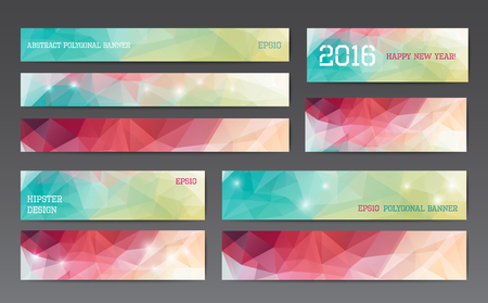 Abstract polygonal banner templates in different sizes Ilustração