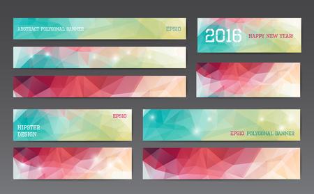 Abstract veelhoekige banner sjablonen in verschillende maten Stock Illustratie