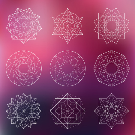 spirit: Abstract vector sacred geometrical figures on blurred background Illustration